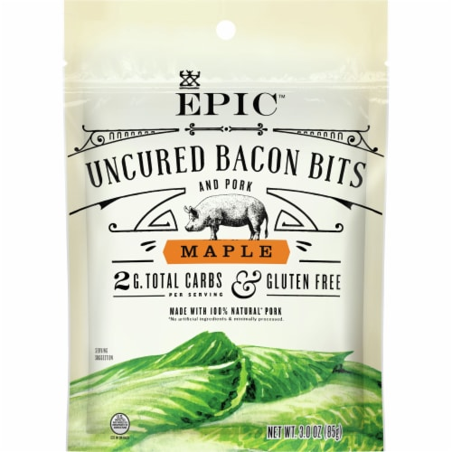 EPIC Maple Uncured Bacon & Pork Bits Perspective: front