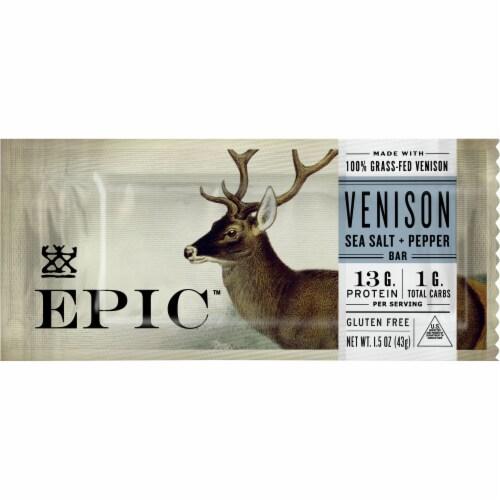 EPIC Sea Salt + Pepper Venison Bar Perspective: front