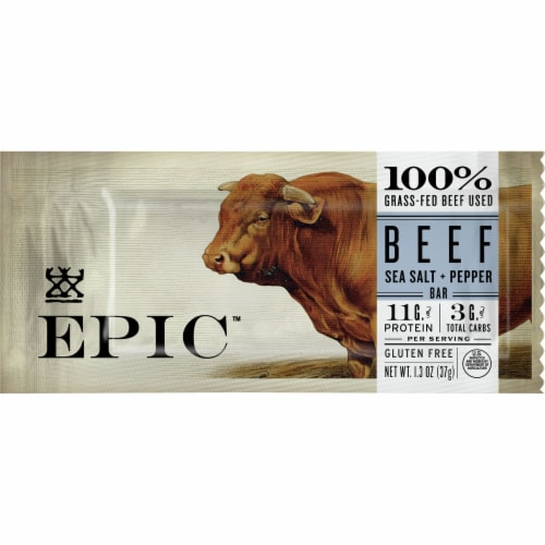 EPIC Sea Salt Pepper Beef Bar Perspective: front