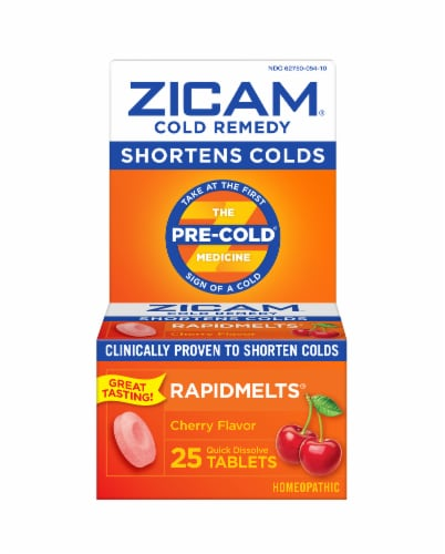 Zicam Cold Remedy Cherry Flavor RapidMelts Quick Dissolve Tablets 25 Count Perspective: front