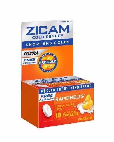 Zicam Ultra Cold Remedy Orange Cream Flavor RapidMelts Tablets Perspective: front