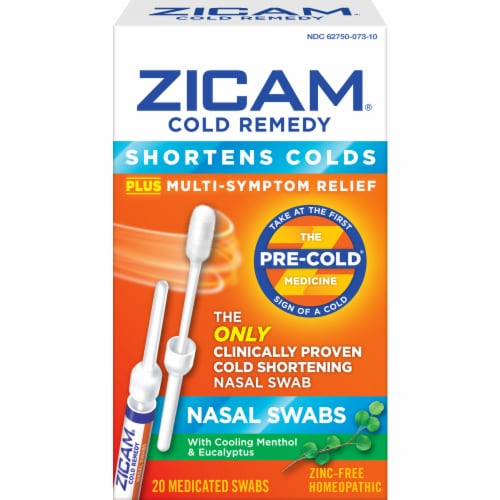Zicam Cold Remedy Nasal Swabs 20 Count Perspective: front
