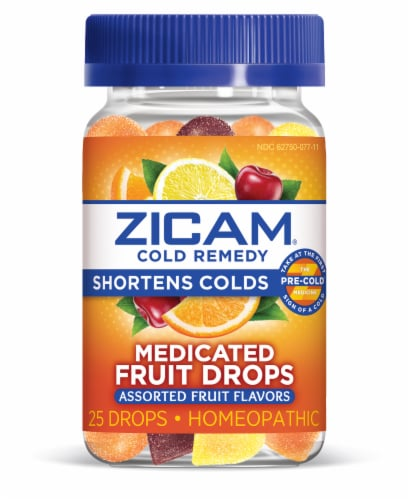 Zicam Cold Remedy Assorted Fruit Flavors Medicated Drops 25 Count Perspective: front
