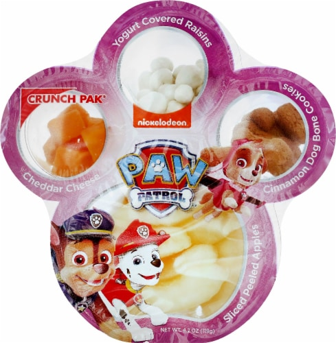 Paw Patrol Apples Yogurt Raisin Cookie Cheese Snack Tray Perspective: front