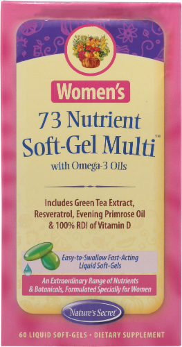 Nature's Secret Women's 73 Nutrient Soft-Gel Multi with Omega-3 Oils Perspective: front