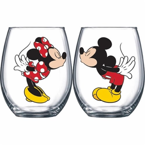 Disney 46040 Mickey & Minnie Kissing Wine Glass Set - 14.5 oz Perspective: front