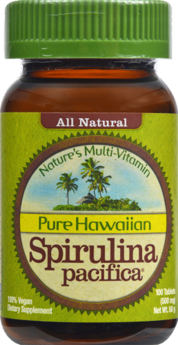 Pure Hawaiian Spirulina Pacifica Tablets 500mg Perspective: front