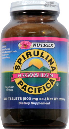 Nutrex Hawaiian Spirulina Vitamin Tablets 500mg Perspective: front