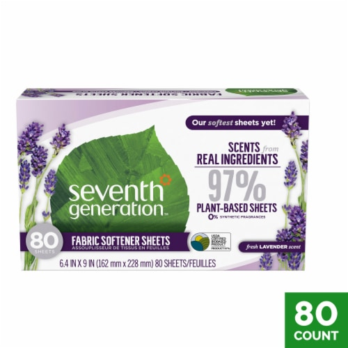 Seventh Generation Lavender & Blue Eucalyptus Natural Fabric Softener Sheets Perspective: front