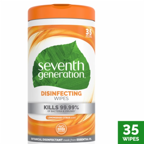 Seventh Generation Lemongrass Citrus Scent Disinfecting Wipes Perspective: front