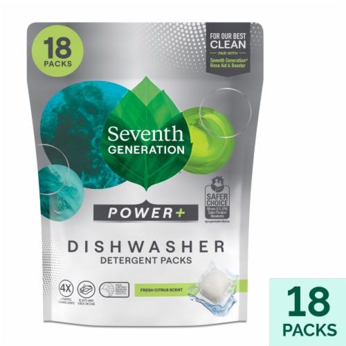 Seventh Generation Ultra Power Plus Fresh Citrus Scent Dishwasher Detergent Packs - 18 Count Perspective: front