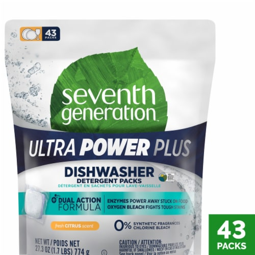 Seventh Generation Ultra Power Plus Fresh Citrus Scent Dishwasher Detergent Packs Perspective: front