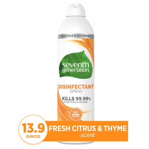 Seventh Generation Fresh Citrus & Thyme Scent Disinfectant Spray Perspective: front