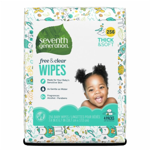 Seventh Generation Free & Clear Baby Wipes (4 Packs) Perspective: front