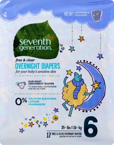 Seventh Generation Free & Clear Size 6 Overnight Diapers Perspective: front