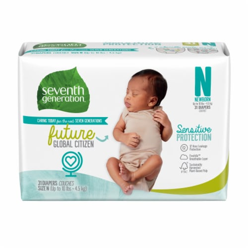 Seventh Generation Newborn Diapers 31 Count Perspective: front