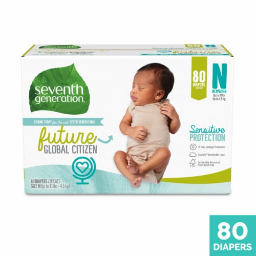 Seventh Generation Newborn Diapers 80 Count Perspective: front