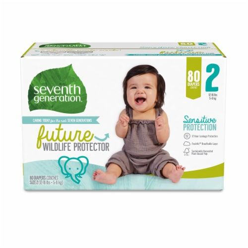 Seventh Generation Size 2 Diapers 80 Count Perspective: front