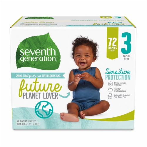 Seventh Generation Size 3 Diapers 72 Count Perspective: front