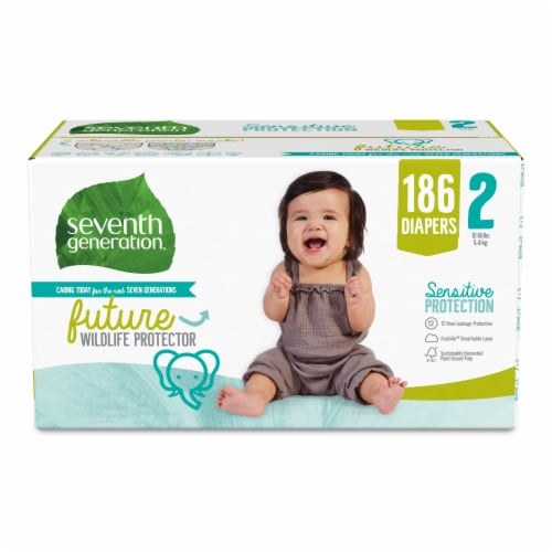 Seventh Generation Sensitive Protection Size 2 Diapers 186 Count Perspective: front