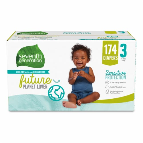 Seventh Generation Sensitive Protection Size 3 Diapers Perspective: front