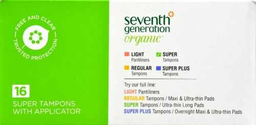 Seventh Generation Free & Clear Super Tampons Perspective: front