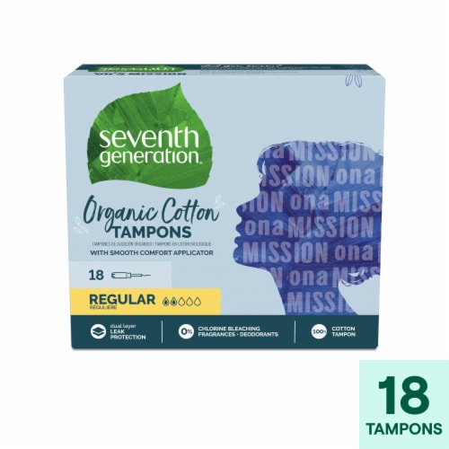 Seventh Generation Regular Organic Cotton Tampons Perspective: front