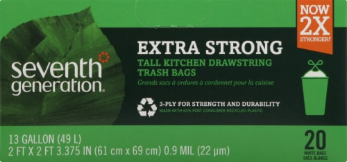 Seventh Generation Tall Kitchen Trash Bags with Drawstring 20 Count - White Perspective: front