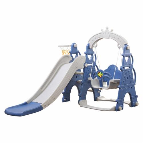 TR LAYNE Indoor/Outdoor Kids 4 Function Slide, Baby Swing & Basketball Hoop Combo. Perspective: front