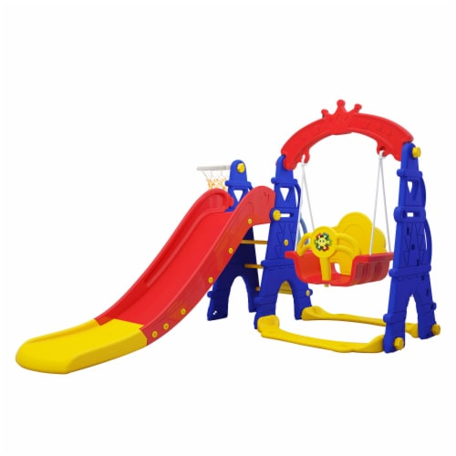TR LAYNE Indoor/Outdoor Kids 4 Function Slide, Baby Swing & Basketball Hoop Combo. Perspective: front