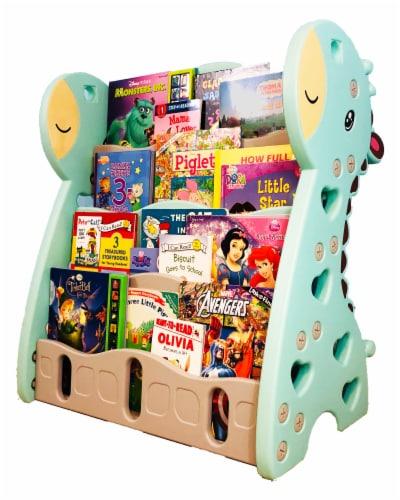 TR LAYNE Cute Giraffe Plastic Book Shelf Organizer for kids bedroom. Perspective: front