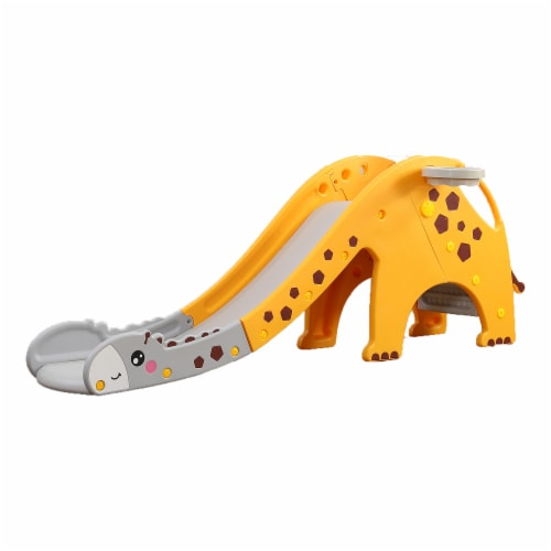 TR Layne Safe and Fun Giraffe Theme Toddler Slide, A Cute Kids Slide, Outdoor & Indoor Slide Perspective: front