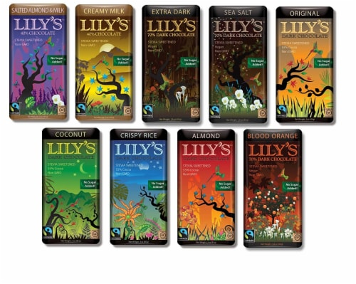 Lily's Chocolate Sampler 9 Pack (1 of each),(Original, Coconut, Crispy Rice,Almond Perspective: front