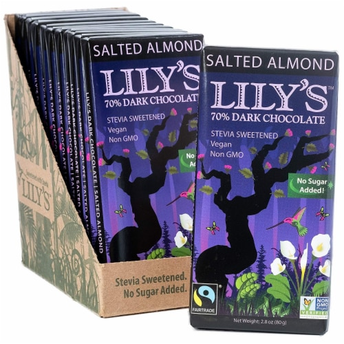 Salted Almond Dark Chocolate Bar by Lily's Sweets | Pack of 12 Bars | Stevia Sweetened Perspective: front