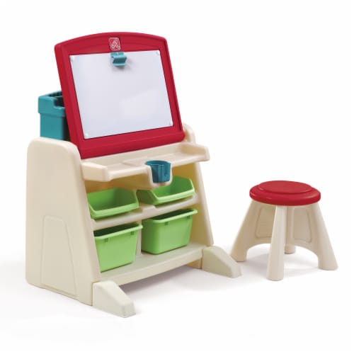 Step2 Children's Art Flip and Doodle Easel Desk with Stool Perspective: front