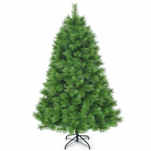 Costway 6 ft Hinged Artificial Christmas Tree Holiday Decoration w/ Foldable Metal Stand Perspective: front