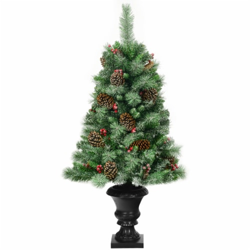 Costway 4 ft Christmas Entrance Tree with Pine Cones Red Berries and Glitter Branches Perspective: front
