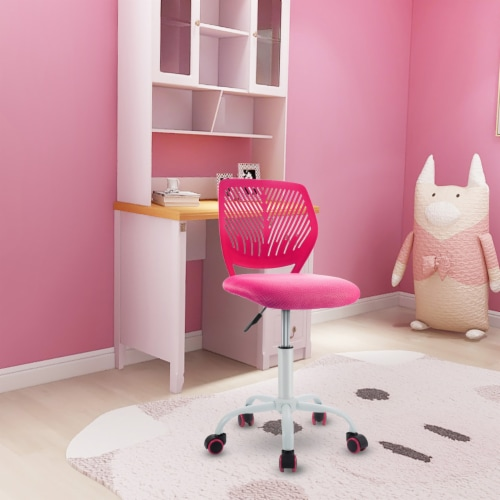 Costway Office Task Desk Armless Chair Adjustable Mid Back Swivel Study Chair Perspective: front