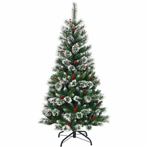 Costway 5 ft Snow Flocked Artificial Christmas Hinged Tree w/ Pine Needles & Red Berries Perspective: front