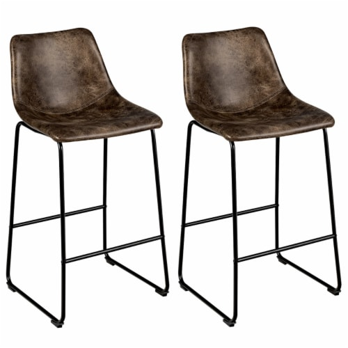 Costway Set of 2 Bar Stool Faux Suede Upholstered Kitchen Dining Chair w/Metal Legs Perspective: front