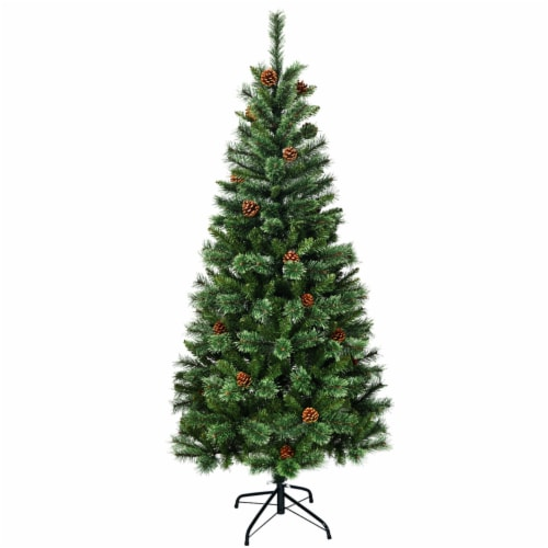 Costway 6 ft Premium Hinged Artificial Christmas Tree Mixed Pine Needles w/ Pine Cones Perspective: front