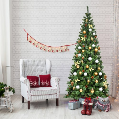 Costway 8 ft Premium Hinged Artificial Christmas Tree Mixed Pine Needles w/ Pine Cones Perspective: front