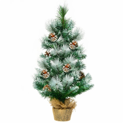 Costway 24'' Snow Flocked Artificial Christmas Tree Tabletop w/Pine Cones and Burlap Base Perspective: front