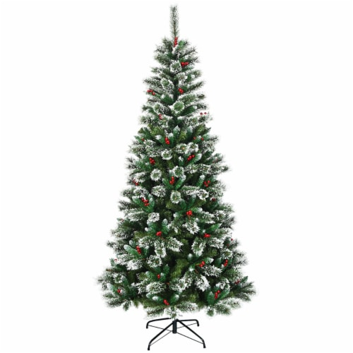 Costway 7 ft Snow Flocked Artificial Christmas Hinged Tree w/ Pine Needles & Red Berries Perspective: front