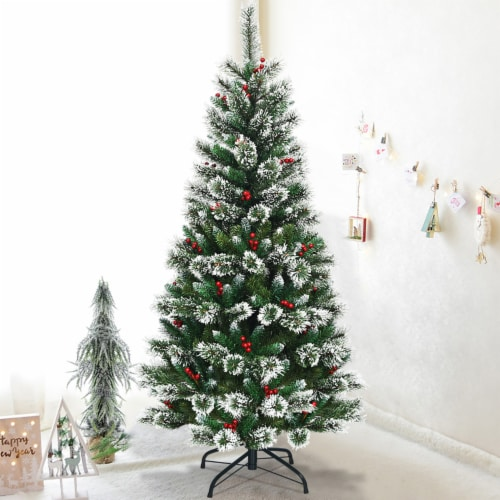Costway 6 ft Snow Flocked Artificial Christmas Hinged Tree w/ Pine Needles & Red Berries Perspective: front