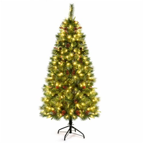 Costway 6Ft Pre-lit Hinged PE Artificial Christmas Tree w/ 250 LED Lights & Pine Cones Perspective: front