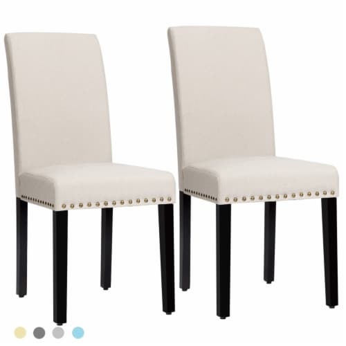 Costway Set of 2 Fabric Dining Chairs Upholstered with Nailhead Trim Perspective: front