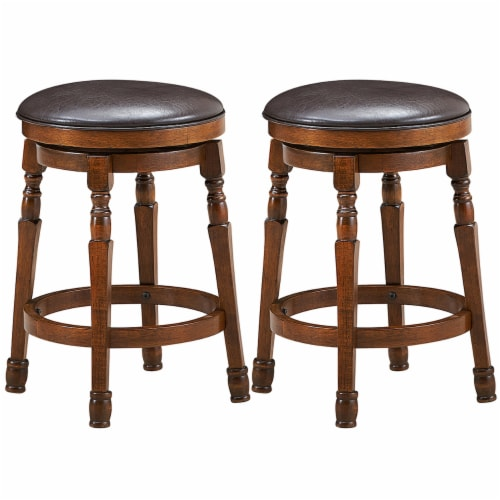 Costway Set of 2 24'' Swivel Bar Stool Leather Padded Dining Kitchen Pub Chair Backless Perspective: front