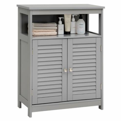 Costway Bathroom Storage Cabinet Wood Floor Cabinet w/ Double Shutter Door Gray Perspective: front
