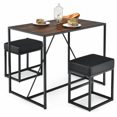 Costway 3pcs Dining Set Metal Frame Kitchen Table and 2 Stools Home Breakfast Perspective: front